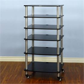 View a larger image of the VTI AR406SB AR Series 6 Shelf Audio Rack (Silver Pole Black Shelf).