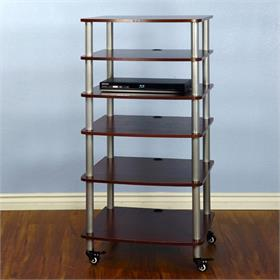 View a larger image of the VTI AR406SC AR Series 6 Shelf Audio Rack (Silver Pole Cherry Shelf).