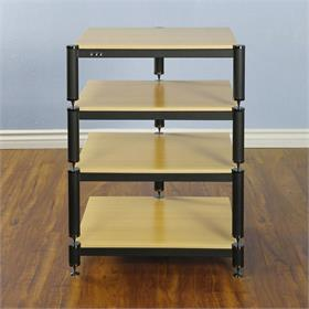 View a larger image of the VTI BL304BO BL Series AV Rack (Black Cap Black Frame Oak Shelf).