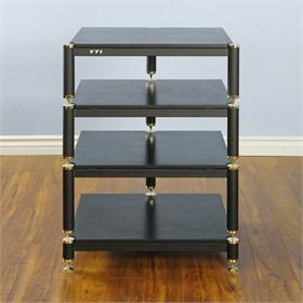 View a larger image of the VTI BL304GB BL Series AV Rack (Gold Cap Black Frame Black Shelf).