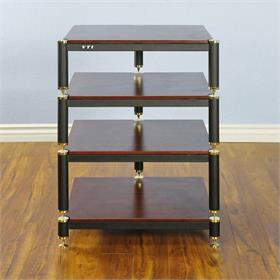 View a larger image of the VTI BL304GC BL Series AV Rack (Gold Cap Black Frame Cherry Shelf).