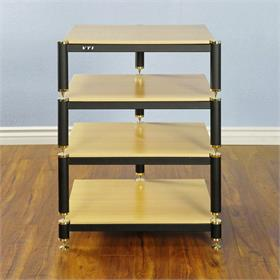 View a larger image of the VTI BL304GO BL Series AV Rack (Gold Cap Black Frame Oak Shelf).