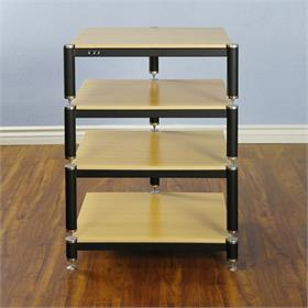 View a larger image of the VTI BL304SO BL Series AV Rack (Silver Cap Black Frame Oak Shelf).