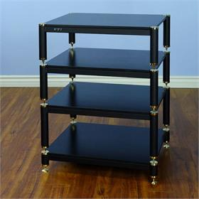 View a larger image of the VTI BL404GB BL Series Audio Rack (Gold Cap Black Pole Black Shelf).