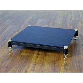 View a larger image of the VTI BL404GB-01 BL Series AMP Stand (Gold Cap Black Pole Black Shelf).