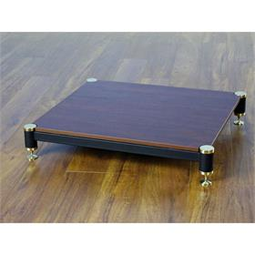 View a larger image of the VTI BL404GC-01 BL Series AMP Stand (Gold Cap Black Pole Cherry Shelf).