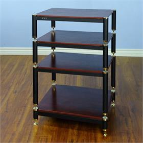 View a larger image of the VTI BL404GC-13 BL Series Tall AV Rack (Gold Cap Black Pole Cherry Shelf).
