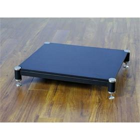View a larger image of the VTI BL404SB-01 BL Series AMP Stand (Silver Cap Black Pole Black Shelf).