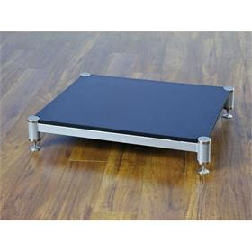 View a larger image of the VTI BL404SSB-01 BL Series AMP Stand (Silver Cap Silver Pole Black Shelf).