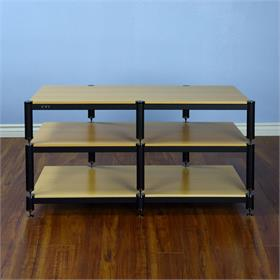 View a larger image of the VTI BL503BO BL Series TV Stand (Black Cap Black Pole Oak Shelf).