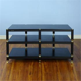 View a larger image of the VTI BL503GB BL Series TV Stand (Gold Cap Black Pole Black Shelf).
