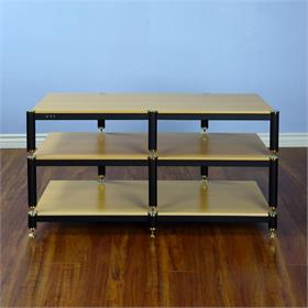 View a larger image of the VTI BL503GO BL Series TV Stand (Gold Cap Black Pole Oak Shelf).
