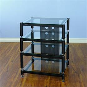 View a larger image of the VTI BLG404BW BLG Series AV Rack (Black Cap Black Pole Clear Glass).