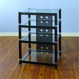 View a larger image of the VTI BLG404BW-13 BLG Series Tall AV Rack (Black Cap Black Pole Clear Glass).