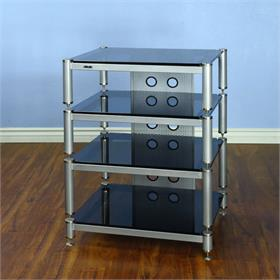 View a larger image of the VTI BLG404SSB BLG Series AV Rack (Silver Cap Silver Pole Black Glass).