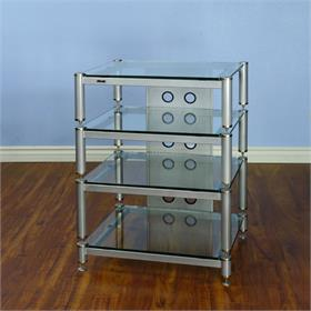 View a larger image of the VTI BLG404SSW BLG Series AV Rack (Silver Cap Silver Pole Clear Glass).
