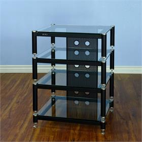 View a larger image of the VTI BLG404SW BLG Series AV Rack (Silver Cap Black Pole Clear Glass).