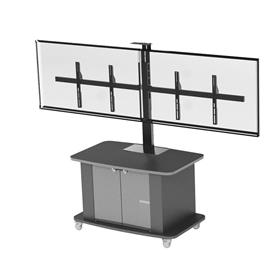 View a larger image of the Audio Visual Furniture Dual Display Cart for Large Screens C2736-D here.