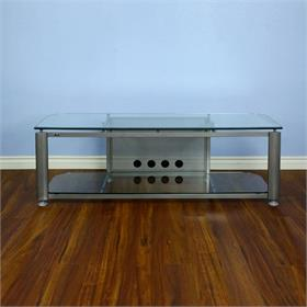 View a larger image of the VTI HGR60S HGR Series TV Stand (Silver Frame Clear Glass).
