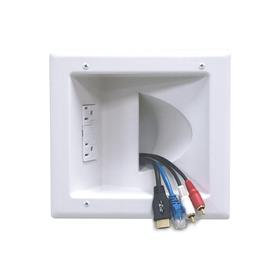 View a larger image of the Peerless IBA5-W Recessed Low Voltage Media Plate with Power Receptacle.