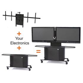 View Larger Image of the AVFI Dual Display Cart for 42-70 inch Monitors MC1000-D PACKAGE K here.