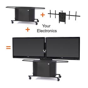 View a larger image of the Audio Visual Furniture MC1000-XLD PACKAGE L Extra Large Dual Display Cart.