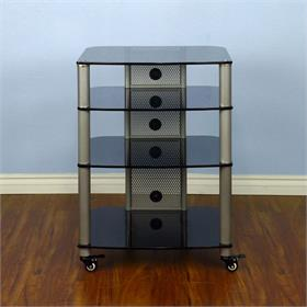 View a larger image of the VTI NGR404SB NGR Series 4 Shelf AV Rack (Silver Pole Black Glass).