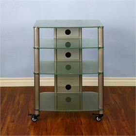 View a larger image of the VTI NGR404SF NGR Series 4 Shelf AV Rack (Silver Pole Frosted Glass).