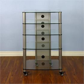View a larger image of the VTI NGR405SW NGR Series 5 Shelf AV Rack (Silver Pole Clear Glass).