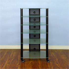 View a larger image of the VTI NGR406BF NGR Series 6 Shelf AV Rack (Black Pole Frosted Glass).