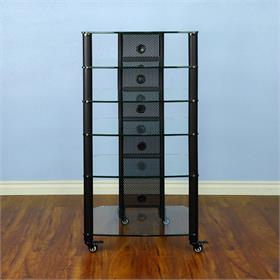 View a larger image of the VTI NGR406BW NGR Series 6 Shelf AV Rack (Black Pole Clear Glass).