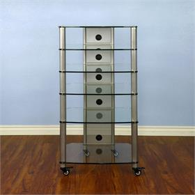 View a larger image of the VTI NGR406SW NGR Series 6 Shelf AV Rack (Silver Pole Clear Glass).