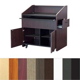 View a larger image of the Audio Visual Furniture - VFI Flat-Top Multimedia Podium with Casters (Various Finishes) PD3001.Audio Visual Furniture PD3001 Multimedia Podium.