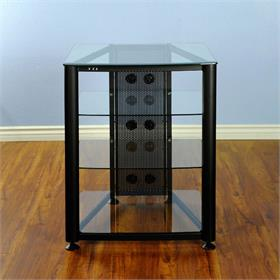 View a larger image of the VTI RGR404B RGR Series 4 Shelf AV Rack (Black Frame Clear Glass).