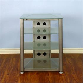 View a larger image of the VTI RGR404SF RGR Series 4 Shelf AV Rack (Silver Frame Frosted Glass).