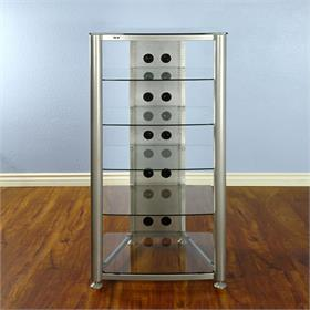 View a larger image of the VTI RGR406S RGR Series 6 Shelf AV Rack (Silver Frame Clear Glass).