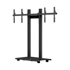 View a larger image of the Audio Visual Furniture SYZ80-D-B Mobile Dual Display Stand for Large Screens.