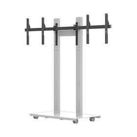 View a larger image of the Audio Visual Furniture SYZ80-D-W Mobile Dual Display Stand for Large Screens.