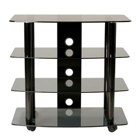 View a larger image of the TransDeco Black Glass and Metal TV Stand Audio Rack for up to 32in Flat Screens TD210B here.
