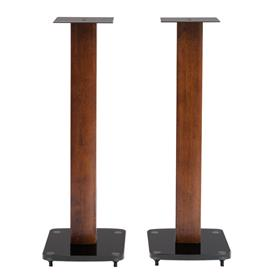 View a larger image of the TransDeco 30 inch Tempered Black Glass & Dark Oak Speaker Stands TD30DB here.