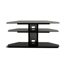 View a larger image of the TransDeco Black Glass Corner TV Stand for 32-52 inch Screens (Black) TD520CB here.