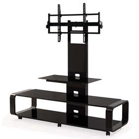 View a larger image of the TransDeco Curved TV Stand with Universal Mounting System (Black) TD685B here.