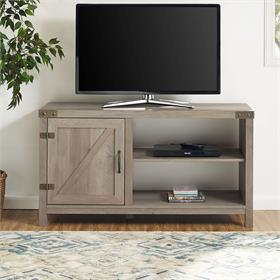 Walker Edison 44 in. Asymmetrical Barn Door Farmhouse TV Stand (Grey Wash) W44BD1DGW