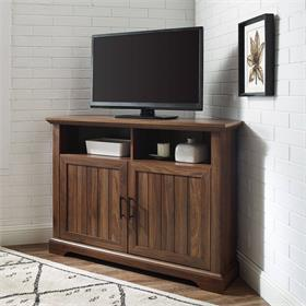 Walker Edison Columbus 44 in. Grooved Door Corner TV Stand (Dark Walnut) W44CMCR2DDW