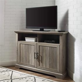 Walker Edison Columbus 44 in. Grooved Door Corner TV Stand (Grey Wash) W44CMCR2DGW