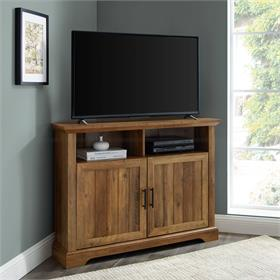 Walker Edison Columbus 44 in. Grooved Door Corner TV Stand (Reclaimed Barnwood) W44CMCR2DRO