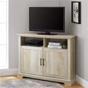 Walker Edison Columbus 44 in. Grooved Door Corner TV Stand  White Oak) W44CMCR2DWO