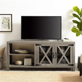 Walker Edison Abilene 58 in. 2 Door Industrial Farmhouse TV Stand (Grey Wash) W58ABMDGW