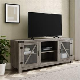 Walker Edison 58 in. Glass Barn Door Farmhouse TV Stand Console (Grey Wash) W58BDGDGW
