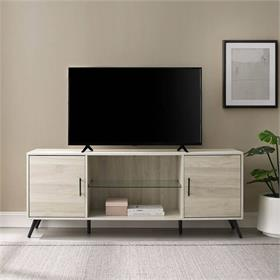 Walker Edison Nora 60 in. Mid Century Modern 2 Door TV Stand (Birch) W60NOR2DBH